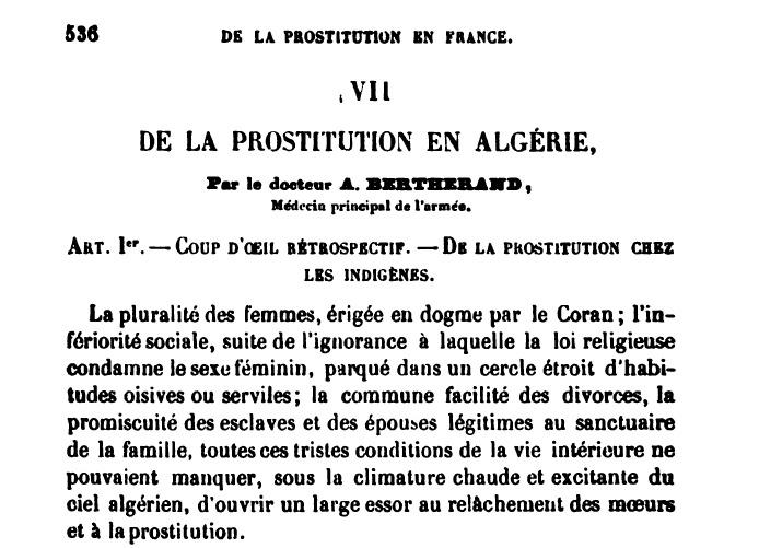 De la Prostitution en Algérie